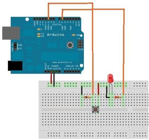 Arduino buton ile led yakmak